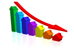House Prices Going Down. House Price Bar Chart with Downward Trend Stock Images