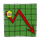 House prices going down illustrated graph. Home prices graph Royalty Free Stock Photos