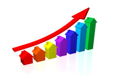 House Prices Going Up. 3D House Price Bar Chart with Upward Trend Stock Photo
