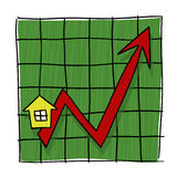 House prices graph illustration. House prices going up illustrated graph; Home prices graph Stock Photos
