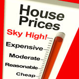 House Prices High Monitor. Showing Expensive Mortgage Cost Royalty Free Stock Photography