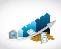House prices up and money illustration design Royalty Free Stock Photo