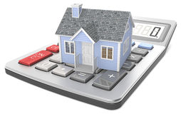 House Pricing. Small blue house on a calculator Royalty Free Stock Photo