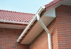 House Problem Areas for Rain Gutter Waterproofing Outdoor. Home Guttering, Gutters, Plastic Guttering System, Guttering & Drainage. Close up view on House Royalty Free Stock Photos