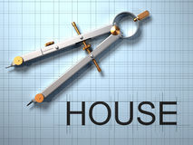 House project. Close up of drawing compass and 'house' text - 3d render Stock Images