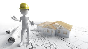 House project. 3d man with a safety helmet, lots of rolled up blueprints with a house project on the background Royalty Free Stock Photos
