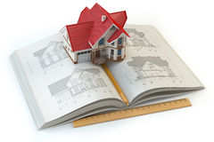 House project. Book with drafts of house and 3d model of house. Royalty Free Stock Image