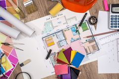 House project with building helmet, colour palette. And drawing tools stock photos