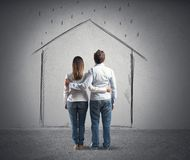 House project of a couple. House project concept of a young couple Stock Images