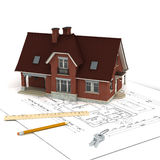 House with project and keys. A house on floor plan, with Royalty Free Stock Images