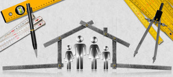 House Project - Metal Meter with Family. House project concept. Meter ruler in the shape of house with symbol of a family, pencil, drawing compass, two meter vector illustration