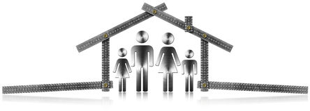 House Project - Metal Meter with Family Royalty Free Stock Photo