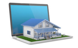 House project. Mobile house project. House comes out from laptop. 3D Render Stock Photography