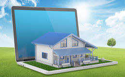 House project. Mobile house project. House comes out from laptop on green lawn. 3D Render Royalty Free Stock Photos