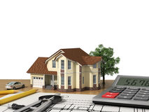 House project with model and drawing tools. On white background vector illustration