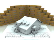 House project with wall Royalty Free Stock Images