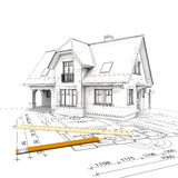 House_project_wireframe illustrazione di stock