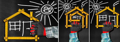 House Project - Wooden Meter on Blackboard. Set of three photos. Hand holding a wooden meter ruler in the shape of house with sun, door, window and smoke from stock illustration