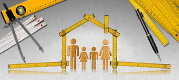 House Project - Wooden Meter with Family. House project concept. Meter ruler in the shape of house with symbol of a family, pencil, drawing compass, two meter vector illustration