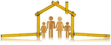 House Project - Wooden Meter with Family. Yellow wooden meter ruler in the shape of house isolated on white background with symbol of a family. House project royalty free illustration