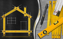 House Project - Yellow Wooden Meter Royalty Free Stock Images