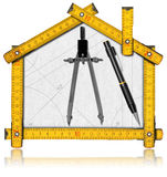 House Project - Yellow Wooden Meter Royalty Free Stock Photo