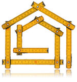 House Project - Yellow Wooden Meter. Yellow wooden meter ruler in the shape of house on white background. House project concept vector illustration