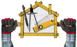 House Project - Yellow Wooden Meter. Two hands holding a wooden meter ruler in the shape of house with a pencil, drawing compass and a spirit level on a white vector illustration