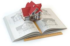 House projektet Boka med utkast av huset och modellen 3d av huset Royaltyfri Bild