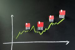 House, property or real estate market price go up or rising concept, small miniature house with green line graph going up on black royalty free stock images