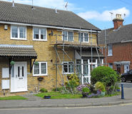 House property scaffolding. Photo of a house with scaffolding ready for building and repair work taken 8th june 2017 stock photos