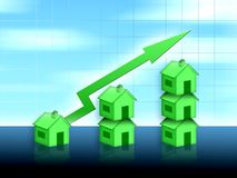 House property value up. Blue green illustration Royalty Free Stock Photo