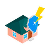 House protect by shield icon, isometric 3d style royalty free illustration