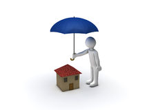 House Protection. 3d Person Protecting House with Umbrella Royalty Free Stock Photos