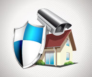 House with protection shield Royalty Free Stock Photo