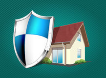 House with protection shield Royalty Free Stock Photos