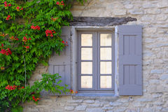 House in Provence. Exterior of a house in Provence with a shuttered window and flowering climbing plant on the wall, France Stock Photography