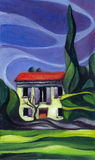 House in Provence. painting Royalty Free Stock Photo