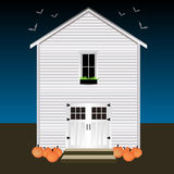 House with pumpkins and bats. Night Halloween. House with pumpkins and bats. Night of Halloween vector illustration