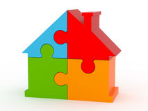 House puzzle. Jigsaw puzzle in the shape of a house Royalty Free Stock Photography