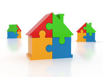 House puzzle. Jigsaw puzzle in the shape of a house Royalty Free Stock Image