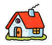 House puzzle. 4 pieces house Puzzle Royalty Free Stock Image