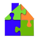 House Puzzle. Bright 3d closeup of connected, colorful puzzle of a house in blue, green, and orange, and isolated on a white background Stock Photos