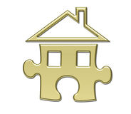 House puzzle gold Royalty Free Stock Images