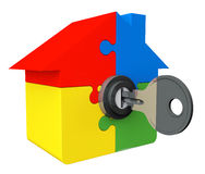 House from puzzle with key and lock Stock Image