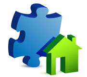 House and puzzle piece illustration Royalty Free Stock Images