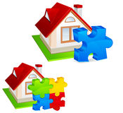 House with puzzles. Model of house with color puzzles, construction concept, vector illustration Royalty Free Stock Photography