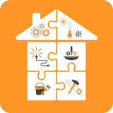House-puzzles with repair tools Stock Photo