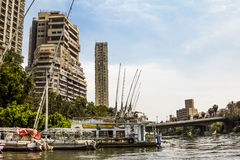 The house on the Quays on the river Nile in Cairo.Egypt Stock Photos