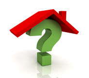 House question concept  3d illustration. House question 3d illustration  on white background Royalty Free Stock Image